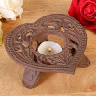 Stunning French Antique Styled Heavy Cast Iron Heart Shaped Tealight Candle Holder